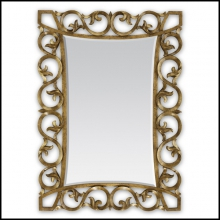 Mirror in hand-carved mahogany wood with hand-painted gold paint 119-Romana