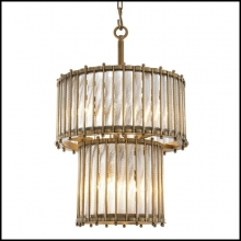 Chandelier with structure in brass in antique finish and clear glass 24-Mezzo Double