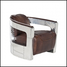 Armchair with leather in whisky finish and riveted aluminium structure 22-AVIATOR RIVETED