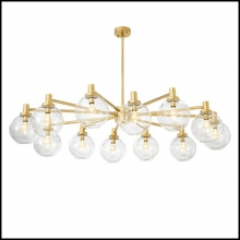 Chandelier with structure in iron in gold finish and 12 rounds glass lamp shades 24-Selva