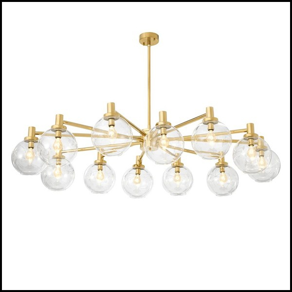 Chandelier With Structure In Iron Gold Finish And 12 Rounds Glass Lamp Shades 24 Astra Round Pacific Compagnie