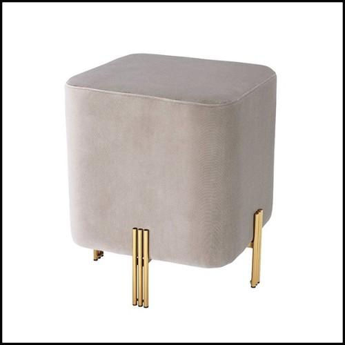 Tabouret couvert avec tissu velours turquoise avec clous en laiton antique 24-Octagon