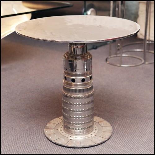 Table basse ovale avec plateau en marbre résine avec ceinture en laiton brossé 24-Thunder