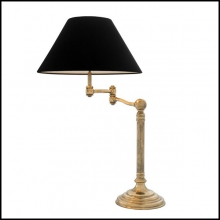 Lampe finition laiton antique ou finition nickel avec abat-jours en velours noir 24-Magic Arm