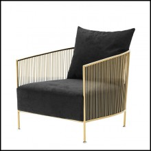 Armchair in gold or in polished stainless steel finish with black or grey velvet seat 24-Alcazar