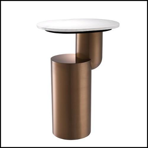 Banc avec base en aluminium poli et avec assise en cuir capitoné coloris whisky 22-San Diego