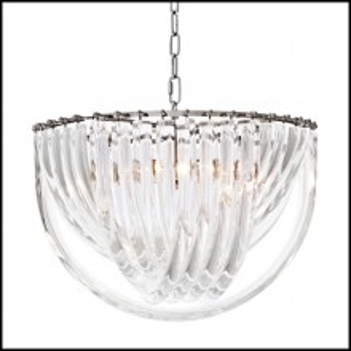 Chandelier avec structure finition nickel et verre acrylique 24-Murano
