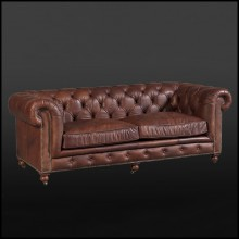 Sofa 3 seater in leather 22-Chesterfield Brown 3