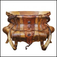 Chest of drawers with real crocodile skin real horns and amethyst stones PC-Crocodile and Amethyst