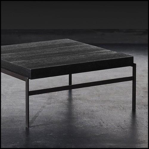 Table de repas en acajou massif avec plateau en acajou vernis et peinture gold 119-Fontana