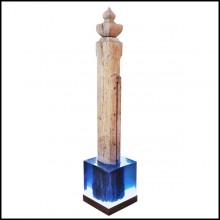 Sculpture mooring column from Doge Pietro Grimani Palace on lighted crystal resin PC-Mooring Venezia