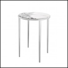 Side table with structure in solid steel with nickel finish and white marble top 24-Twiny