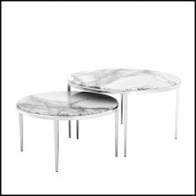 Set de 2 tables basses avec structure en acier finition nickel et dessus en marbre Bianco Lilac 24- Twiny Coffee Table