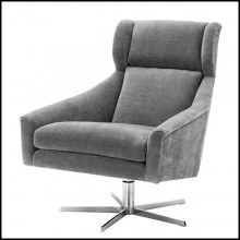Swivel chair with structure in solid wood and clarck grey fabric on nickel finish base 24-Paloma Office Armchair