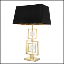 Table lamp in brass and stainless steel with gold finish and rock crystal 24-Square Rotate