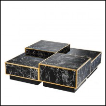 Set de 4 tables basses avec structure en marbre résine noir finition Gold et base noire 24-Floors Coffee Table Set of 4