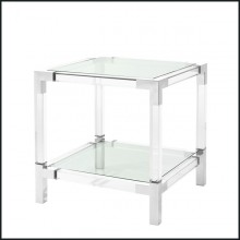 Side table with structure in polished stainless steel and clear acrylic and clear glass tray 24-Princess Side Table