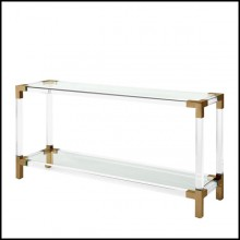 Console with structure in brushed brass finish clear acrylic and clear glass tray 24-Princess Console
