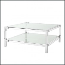 Coffee table with structure in polished stainless steel clear acrylic and clear glass tray 24-Princess CoffeeTable