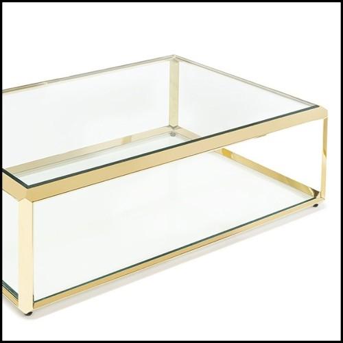 Table basse avec structure en acier inoxydable poli acrylique transparent et plateau en verre clair 24-Princess CoffeeTable