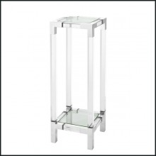 Pedestal with structure in polished stainless steel, clear acrylic and clear glass tray 24-Pedestal Princess