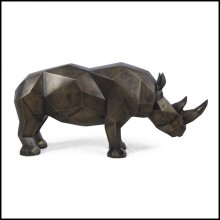Sculpture in solid brushed brass finish 119-Rhino