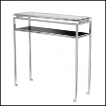Console table with structure in polished stainless steel clear glass and black glass 24-Kleim Medium