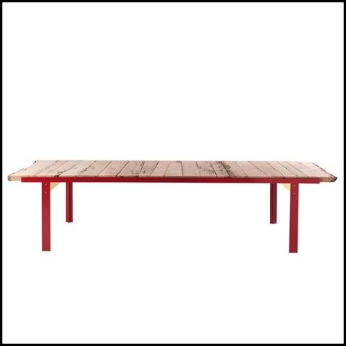 Console avec structure en acier inoxydable poli verre clair et verre noir 24-Kleim Medium