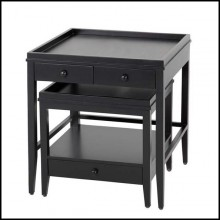 Table d'appoint avec structure en acajou massif finition Black 24-Boomer Side Table