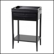Side table with structure in solid mahogany wood in black finish 24-Blaster Side Table