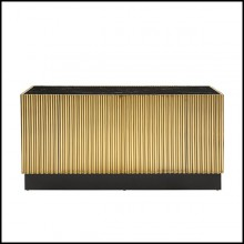 Sideboard brass in gold finish metal with black marble top 162-Tubes II