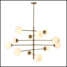 Suspension in antique brass finish with white glass shades 24-Exo