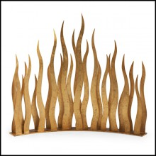 Pare-feu en metal antique finition oro nero 119-Flames