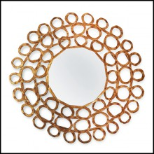 Mirror in hand-painted solid wood with old gold finish 119-Gold Curls