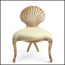 Chair in solid wood with silver gilt painting and high quality fabric 119-Gold Shell