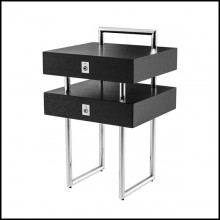 Side table with structure in black oak wood and polished stainless steel 24-Nexbed Nightstand