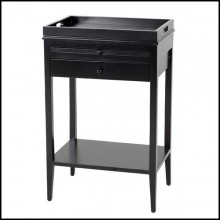 Nightstand with structure in solid mahogany wood in black finish 24-Blaker Medium Nightstand
