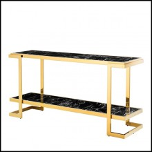 Console with structure in gold finish and tops in resin marble 24-Senato