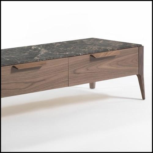 Console avec structure en finition Gold et plateaux en marbre résine 24-Senato