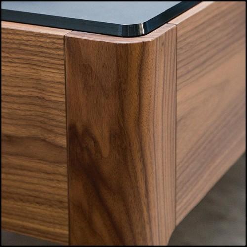 Table basse avec structure en finition Gold et plateaux en marbre résine noir 24-Senato
