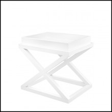 Side table with solid birch wood structure in waxed white finish 24-Mac Gregor