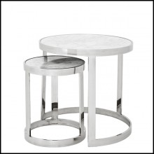 Set of 2 side table with structure in polished stainless steel and white marble top 24-Duo Set