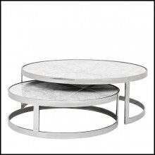 Set of 2 coffee tables with structure in polished stainless steel and white marble top 24-Duo Set