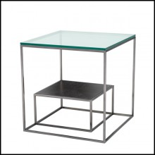 Side table with structure in black nickel finish clear glass uptop and charcoal oak veneer down top 24-Domino