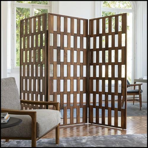Table d'appoint avec structure finition black nickel plateaux en verre clair et en placage de chêne anthracite 24-Domino