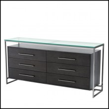 Buffet with structure in charcoal oak veneer steel with black nickel finish and top in clear glass 24-Domino