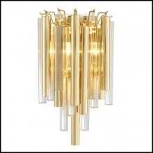 Wall lamp with structure in gold or nickel finish and clear glass 24-Tilly
