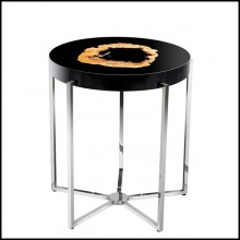 Round side table with high glossy black paint and polished nickel base 24-Petrified Wood