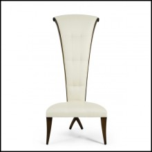 Chair in solid mahogany wood covered with high quality fabric 119-Smart High Back
