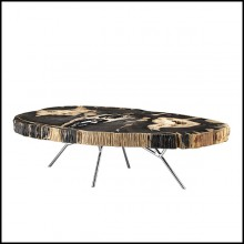 Coffee table black stoned petrified wood with polished stainless steel base 24-Stoned Petrified Wood black